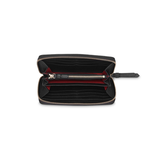 LETTRINES CONTINENTAL ZIP WALLET BLACK