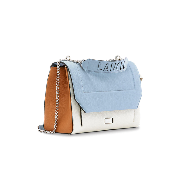 NINON FLAP BAG LARGE SKY BLUE / CREAM / CAMEL