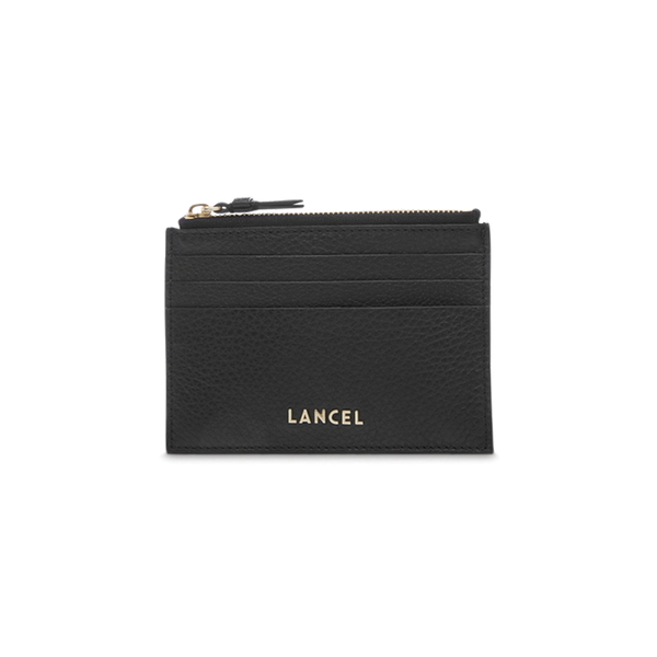 LETTRINES ZIPPED CARD HOLDER BLACK