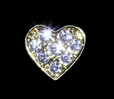 #13464 Rhinestone Casted Mini Heart Pin - Gold