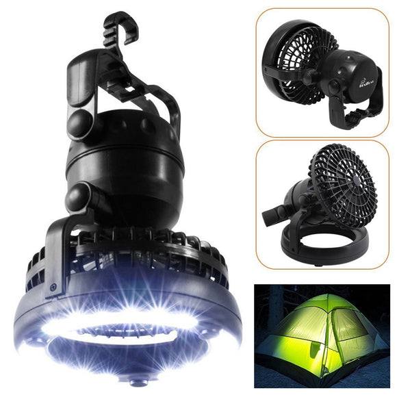 2 in 1 Portable Camping Light Lamp Fan Flashlight Outdoor Hiking Fishing Tent