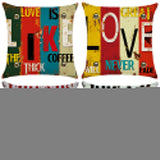 Letter Love Life Pillow Cover Cushion Case Home Car Sofa Bedroom Hotel Decor