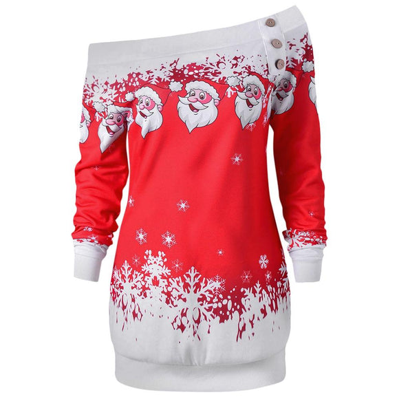 Santa Claus Snowflake Skew Neck Pullover Christmas Sweatshirt - Uncle Buzz