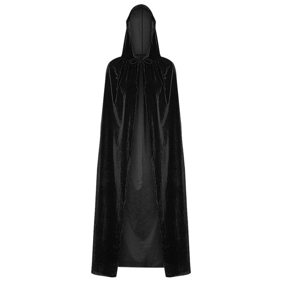 Hooded Collar Cloak Halloween Costume Solid Color Velour Cape - Uncle Buzz