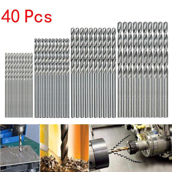 40Pcs Titanium Coated Drill Bits HSS High Speed