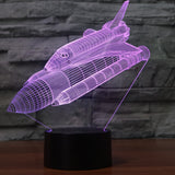 Multi-color Change LED Lamp 3D Illusion LED Space Airplane Lamp with USB Touch Button Desk Light