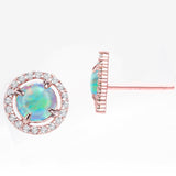 Oceanic Opal Blue Studs Martini Studs in 14K Rose Gold