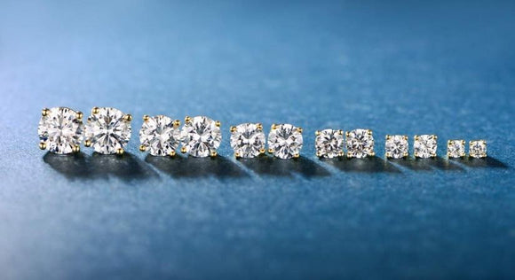 6 Piece Graduating Classic Swarovski Elements Studs in 14K Gold Plated