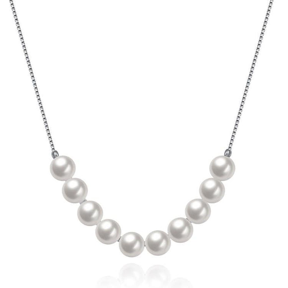 Classic Dangling Pearl Layering Sterling Silver Necklace
