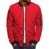 Trendy Rhombus Winter Jackets Men O Neck Zipper - L / Red Style A