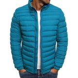 Trendy Rhombus Winter Jackets Men O Neck Zipper - XXL / Sky Blue Style B