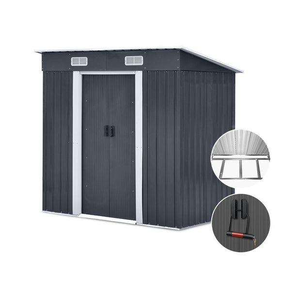 Giantz 1.94 x 1.21m metal Base Garden Shed - Grey - Uncle Buzz