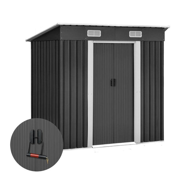 Giantz 1.94 x 1.21m metal Tool Shed - Grey - Uncle Buzz