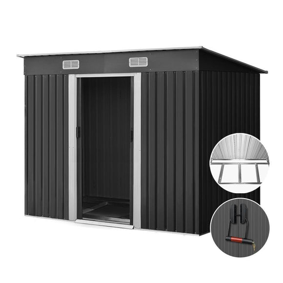 Giantz 2.38 x 1.31m Steel Base Garden Shed - Grey - Uncle Buzz