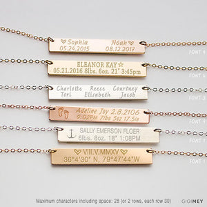Baby's Birth Necklace, Baby Birth Stats Necklace,