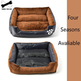 Pet Bed Warm Pet Sofa Double Fabric Mat Short Piush Pad Paw Print Couch Pet Products For Small Medium Dogs Cotton Pet Nest