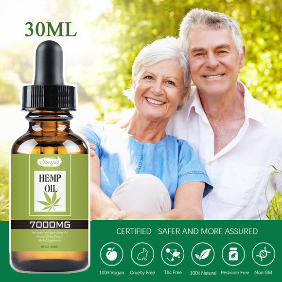 7000mg 30ml Organic Essential Hemp Oil Contain CBD Ingredient Herbal Drops Massage Body Relieve Stress Oil Skin Care Help Sleep