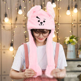 Kocozo Rabbit Hat with Moving Ears Cute Cartoon Toy Hat Airbag Kawaii Funny Toy Cap Kids Plush Toy Birthday Gift  Hat for Girls - SNT4