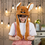 Kocozo Rabbit Hat with Moving Ears Cute Cartoon Toy Hat Airbag Kawaii Funny Toy Cap Kids Plush Toy Birthday Gift  Hat for Girls - SNT6