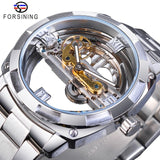 Forsining Men Transparent Design Mechanical Watch Automatic Silver Square Golden Gear Skeleton Stainless Steel Belts Clock Saati - S1068-3