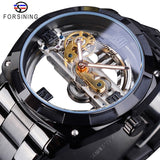 Forsining Men Transparent Design Mechanical Watch Automatic Silver Square Golden Gear Skeleton Stainless Steel Belts Clock Saati - S1068-4