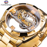 Forsining Men Transparent Design Mechanical Watch Automatic Silver Square Golden Gear Skeleton Stainless Steel Belts Clock Saati - S1068-5