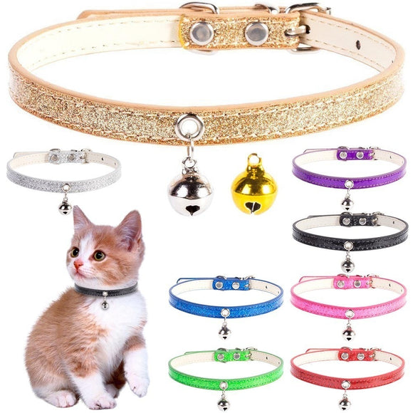 Bling Leather Small Dog Cat Collar With Bell Safety Adjustable Cat Kitten Straps Puppy Necklaces Chihuahua Collars Pet supplies