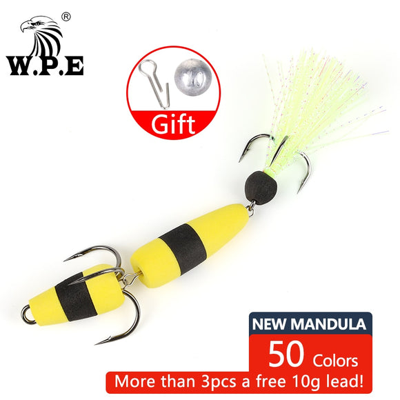 W.P.E Brand New MANDULA 50color Size L Bass Lure Soft Fishing Bass Lure Density Foam Swim Baits 5g with 2 Treble Hooks 2/0# 2#