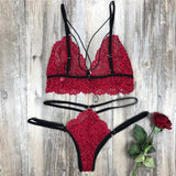 Women's Sexy Bra Set Quality Polyester Lace Lingerie Straps Panty Bandage Set Babydoll Comfortable and Breathable Underwear Set - Wine Red / S - Wine Red / L - Wine Red / M - Wine Red / XXL - Wine Red / XL - Wine Red / XXXL