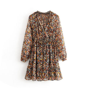 Summer Boho Floral Print Dress Women Lantern Long Sleeve Lady Pleated Dresses V Neck Beach Mini Dress Female Roupa Feminina
