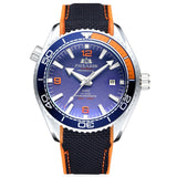 Men Automatic Self Wind Mechanical Canvas Rubber Strap James Bond 007 Style Orange Blue Red Rotatable Bezel Classic Watch - White Orange Blue