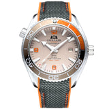 Men Automatic Self Wind Mechanical Canvas Rubber Strap James Bond 007 Style Orange Blue Red Rotatable Bezel Classic Watch - White Orange Grey