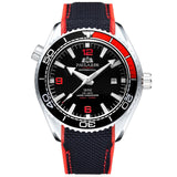 Men Automatic Self Wind Mechanical Canvas Rubber Strap James Bond 007 Style Orange Blue Red Rotatable Bezel Classic Watch - White Red Black