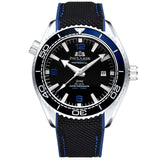 Men Automatic Self Wind Mechanical Canvas Rubber Strap James Bond 007 Style Orange Blue Red Rotatable Bezel Classic Watch - White Blue Black
