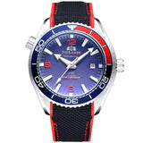 Men Automatic Self Wind Mechanical Canvas Rubber Strap James Bond 007 Style Orange Blue Red Rotatable Bezel Classic Watch - White Red Blue
