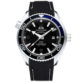 Men Automatic Self Wind Mechanical Canvas Rubber Strap James Bond 007 Style Orange Blue Red Rotatable Bezel Classic Watch - White Black