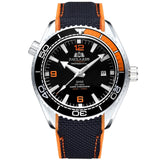 Men Automatic Self Wind Mechanical Canvas Rubber Strap James Bond 007 Style Orange Blue Red Rotatable Bezel Classic Watch - White Orange Black