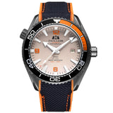 Men Automatic Self Wind Mechanical Canvas Rubber Strap James Bond 007 Style Orange Blue Red Rotatable Bezel Classic Watch - Black  Orange Grey