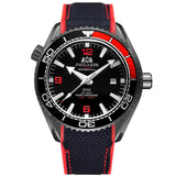 Men Automatic Self Wind Mechanical Canvas Rubber Strap James Bond 007 Style Orange Blue Red Rotatable Bezel Classic Watch - Black Red Black