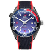 Men Automatic Self Wind Mechanical Canvas Rubber Strap James Bond 007 Style Orange Blue Red Rotatable Bezel Classic Watch - Black Red Blue