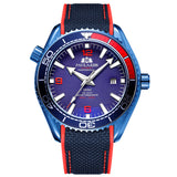 Men Automatic Self Wind Mechanical Canvas Rubber Strap James Bond 007 Style Orange Blue Red Rotatable Bezel Classic Watch - Blue Red