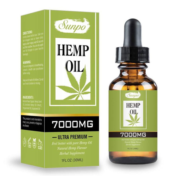 30ml 7000mg Hemp CBD Organic Essential Oil Hemp Seed Oil Herbal Drops Body Relieve Stress Oil Skin Care Help Sleep