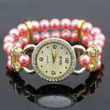 shsby New Women's Rhinestone Quartz Analog Bracelet Wrist Watch lady dress watches with Colorful pearls - light  red