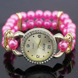 shsby New Women's Rhinestone Quartz Analog Bracelet Wrist Watch lady dress watches with Colorful pearls - Rose