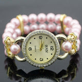 shsby New Women's Rhinestone Quartz Analog Bracelet Wrist Watch lady dress watches with Colorful pearls - light  pink