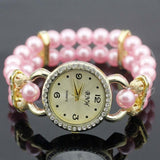 shsby New Women's Rhinestone Quartz Analog Bracelet Wrist Watch lady dress watches with Colorful pearls - Pink