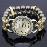 shsby New Women's Rhinestone Quartz Analog Bracelet Wrist Watch lady dress watches with Colorful pearls - Brown