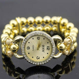 shsby New Women's Rhinestone Quartz Analog Bracelet Wrist Watch lady dress watches with Colorful pearls - Gold