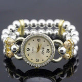shsby New Women's Rhinestone Quartz Analog Bracelet Wrist Watch lady dress watches with Colorful pearls - Silver