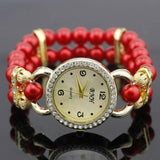 shsby New Women's Rhinestone Quartz Analog Bracelet Wrist Watch lady dress watches with Colorful pearls - Red